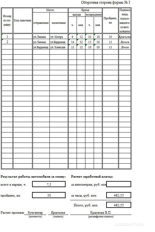 Образец заполнения путевого листа легкового авто (оборотная сторона)