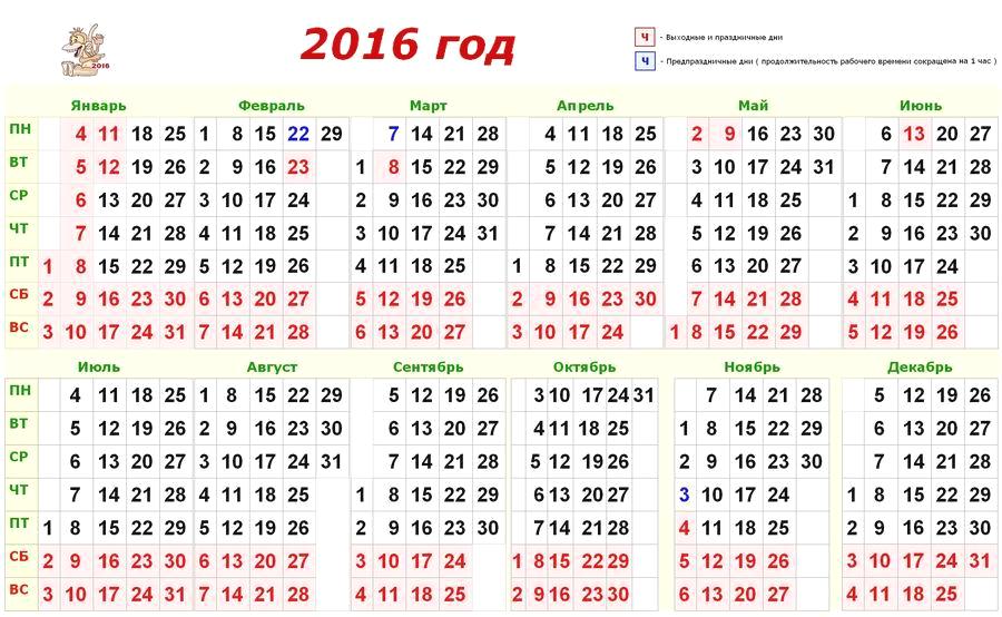 Производственный календарь рабочих и выходных дней в 2016 году