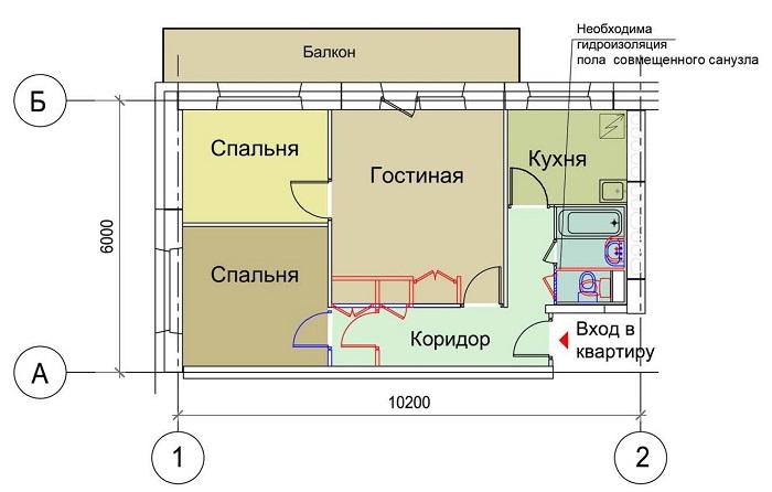 Перепланировка в 3-х комнатной квартире панельного дома
